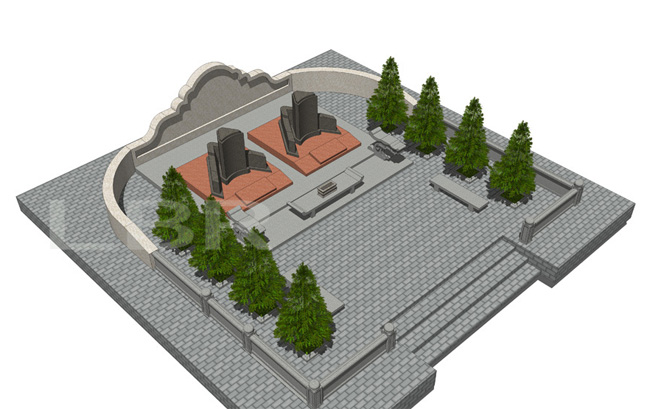 陵园墓园公墓规划设计——净土陵园规划 墓区设计 家族墓区图片